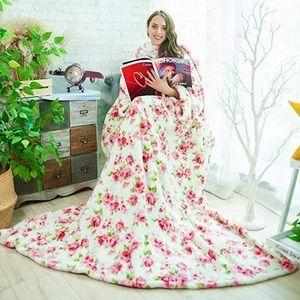 Premium Plush Fleece Blanket Robe with Pockets